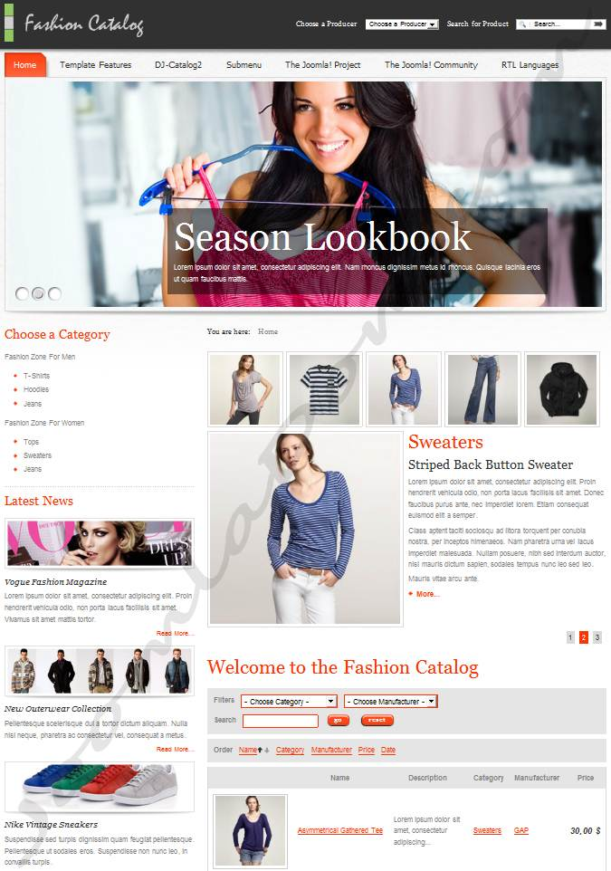 Шаблон каталога для Joomla 2.5 - JM Fashion Catalog